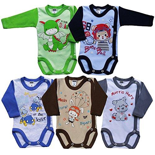 MEA BABY - Body para bebé unisex de manga larga con estampado (5 unidades) niños 74 cm