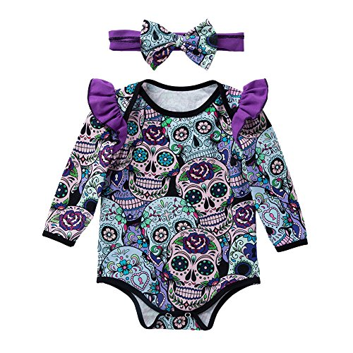 ALIKEEY Newborn Baby Girls Long Sleeve Halloween Cartoon Skull Mameluco Overol Blanco Naranja...