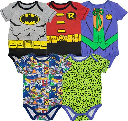 DC Comics Body de Superhéroes - Batman, Robin, el Joker y Riddler para Bebé-Niños (Pack de 5),...